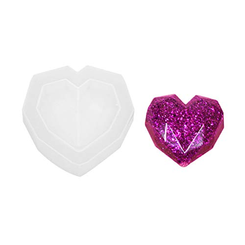 cici store 3D Heart Shape Epoxy Resin UV Glue Crafts Silicone Mold,Creative DIY Art Pendant Brooch Jewelry Tool -
