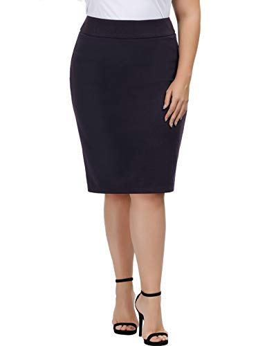 Hanna Nikole Womens Wear to Work Stretchy Pencil Skirts Plus Size Navy Blue 20W