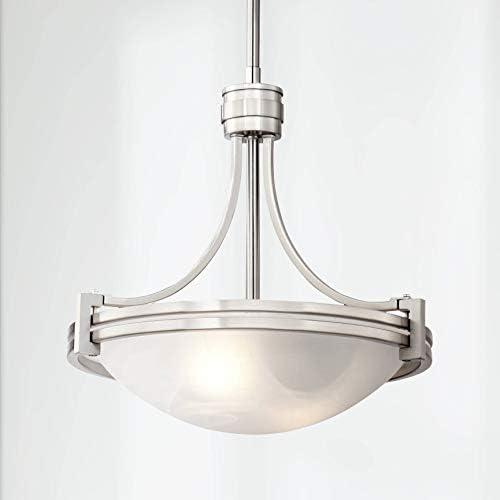 Deco Brushed Nickel Mini Pendant Light 12 1 2 Wide Modern Art Deco Marbleized Glass Bowl Fixture for Kitchen Island Dining Room – Possini Euro Design