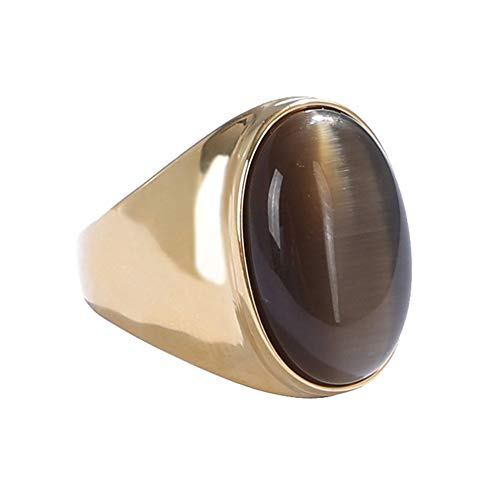 Oakky Men's Stainless Steel Oval Cat Eye Gemstone Ring Gold Brown Size 10