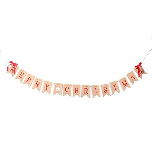 Merry Christmas Burlap Banner Flag with 2 Bow Ribbon for Christmas Party Home Photo Prop (Tree Props)