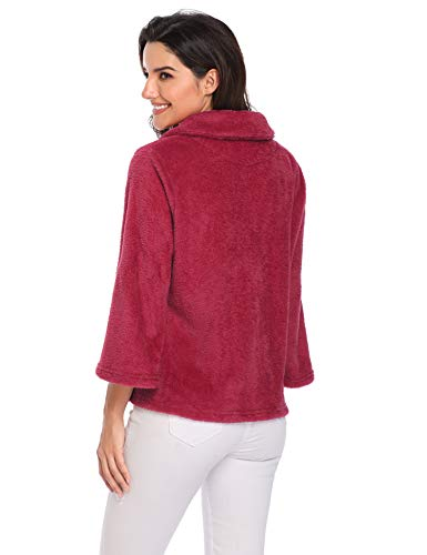 Pan Donna Red Wine Soft 4 abbottonatura Pan Pan colletto 3 Flanella Lusofie Sleeve The Sleepwear tdxcqgBwqH