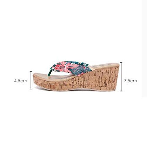 Cremalleras EU39 exteriores CN39 UK6 femeninas sandalias verano Zapatillas Increase Slope Slope de Tamaño UxHqvtgT