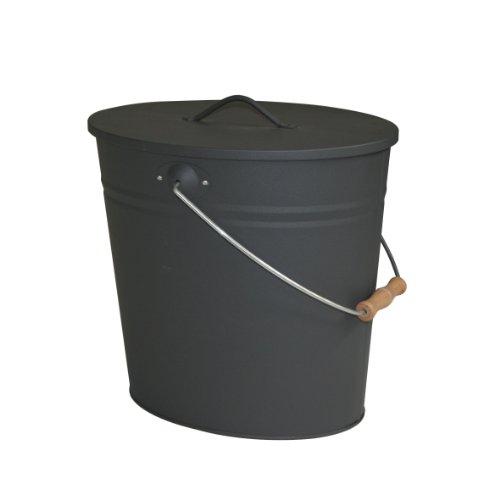 Kamino Flam Ascheeimer für den Kamin, Kohleneimer 15 Liter mit Deckel und Tragegriff, Mülleimer oder Abfalleimer für Innen und Außen, Eimer für Kohle und Asche, Kamin, Ofen, Grill