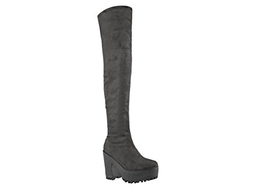 Womens Ladies Stretch Faux Suede Platform Cleated Sole Block Heel Over The Knee Boots Grey Faux Suede JrO4E2bsV