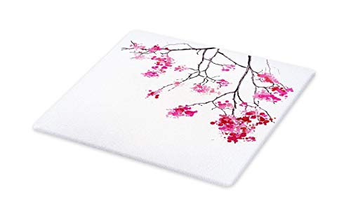 Lunarable Japanese Cutting Board, Cherry Blossom Sakura Tree Floral Branch Spring Season Theme Image, Decorative Tempered Glass Cutting and Serving Board, Small Size, Pink Black and Dimgray -