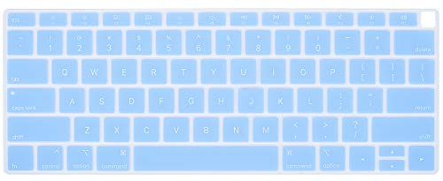 CaseBuy Premium Keyboard Cover Compatible 2018 Release MacBook Air 13 Inch with Touch ID Model A1932 Soft-Touch Ultra Thin Silicone Protective Skin, Serenity Blue