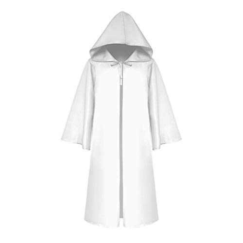 sweetnice man clothing Men Tunic Hooded Robe Halloween Chirstmas Robe Cosplay Party Costume Retro Victorian Cloak Cape White ()