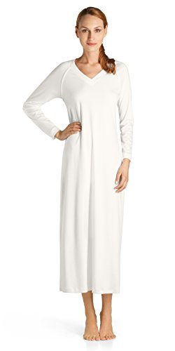 Hanro Women's Pure Essence Long Gown, Off White, Large by HANRO (Image #1)