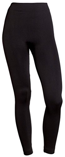 Sportoli Women's Basic Solid Comfort High Waist Seamless Warm Fleece Lined Stretchy Slimming Leggings - Black (One Size)