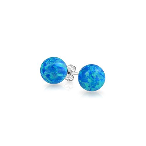 Bling Jewelry Synthetic Blue Opal October Birthstone 925 Silver Stud Earrings (Blue Opal Earrings)
