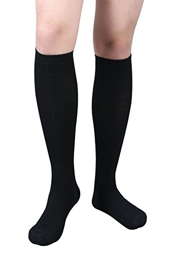 MD Men's Wool Compression Socks Knee High 15-20mmHg For Athletic,Routine & Flying Black9-11 (Wool Spandex Trousers)