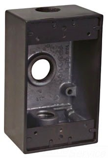 Thomas & Betts DIH3-1-LM-BR 1-Gang Bronze Universal Box with Mounting Lugs, Two Closure Plugs and Ground Screw, Hub Size-1/2'', 3 Outlets