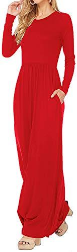LunaJany Women's Autumn Fashion Long Sleeve Side Pocket Maxi Dress