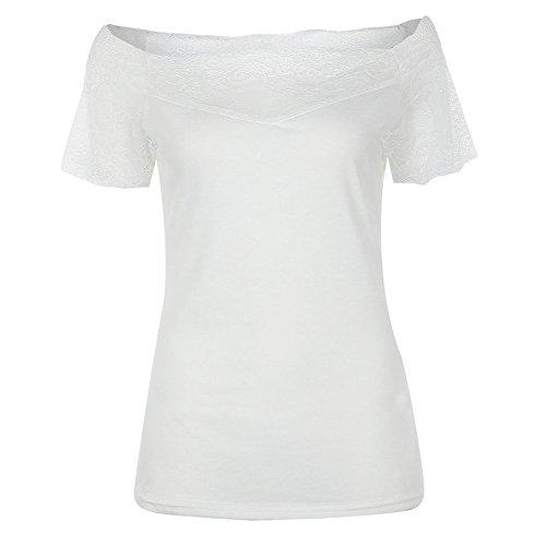 Top Camicetta Gyratedream Estate Casual Shirt Fit Manica Tee Corta Blouse Magliette Shirt Pizzo Donna Slim Maglia Elegante T Blusa Basic Camicie Bianco BvqB8Uwp