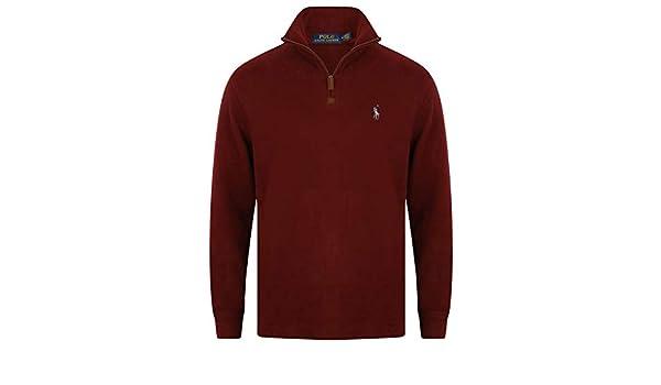 Ralph Lauren Jersey de algodón con media cremallera Rojo granate ...