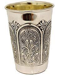 Hadad Bros Sterling Silver Kiddush Cup with Imperium Gates Design- Judaica Wine Goblet (Medium)