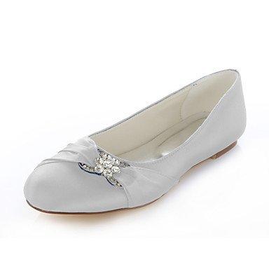 Red Wedding Dress Evening amp;Amp; 4 Royal 5 Flats Shoes Blue Silk Toe Party UK2 Round Heel Silver 5 EU34 Women'S 2 US4 Flat CN33 Pink Purple 6Pfqv0