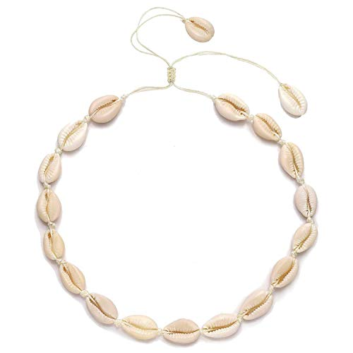 - HEIDKRUEGER Natural Shell Choker Necklace Handmade Adjustable Cowrie Collar Boho Hawaii Summer Beach Necklace for Women Girls