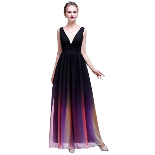Nice esvor Strapless Pleats Gradient colorful Ombre Chiffon Prom Dress Evening Gown hot sale