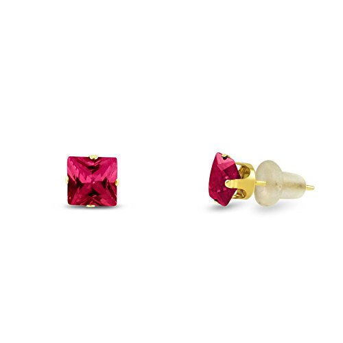 Lab Created 3x3mm Square Princess Cut Red Ruby Solid 10K Yellow Gold 4-Prong Set Baby Stud (Cut Lab Ruby)