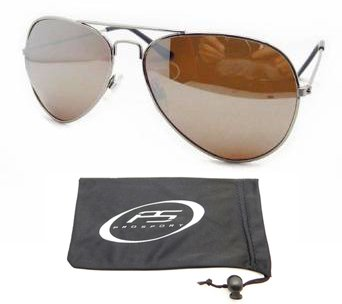9d4cbff449 Silver Aviator Polarized Sunglasses with Crisp and Clear Amber Mirror  Lenses for Men and Women.