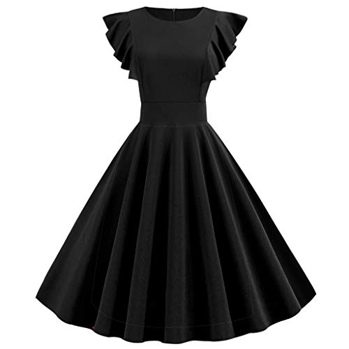 (【MOHOLL】 Women Cocktail Party Dress Vintage 1950s Retro Solid Ruffle Sleeve Dress Round Neck Zipper Hepburn Dress Black)