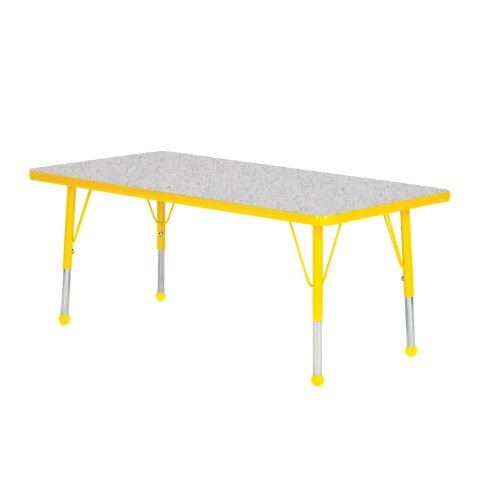 Creative Colors N2472YL-SB Activity Table, Ball Glides, Standard Height, 24'' x 72'', Rectangle, Gray Nebula Top, Yellow Edge by Creative Colors