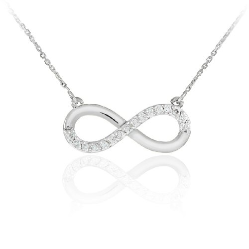 Fine 14k White Gold Infinity Polished Pendant Necklace with Diamonds (16 Inches)