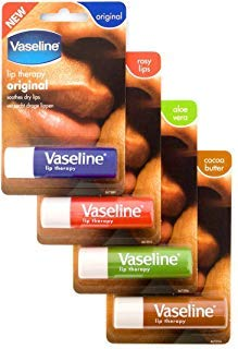 Vaseline Lip Therapy Stick with Petroleum Jelly (Original, Aloe Vera, Rosy Lips, Cocoa Butter)- 4pk