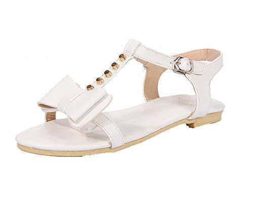 VogueZone009 Women Buckle PU Open-Toe Low-Heels Studded Sandals,CCALP014628 White