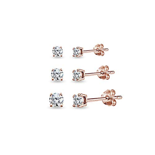 Gold Silver Over Stud (3 Pair Set Rose Gold Flashed Sterling Silver Cubic Zirconia Round Stud Earrings, 3mm 4mm 5mm)