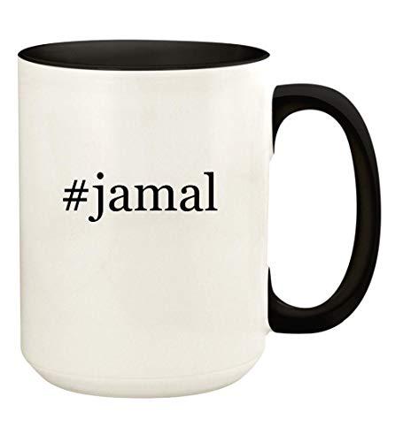 #jamal - 15oz Hashtag Ceramic Colored Handle and Inside Coffee Mug Cup, Black