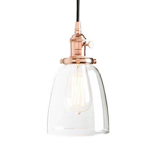 Permo Vintage Incandescent One Light Pendant Mini Cone Clear Glass Ceiling Hanging Lamp Fixture 1-light (Copper) (Rose Glass Light Pendant)