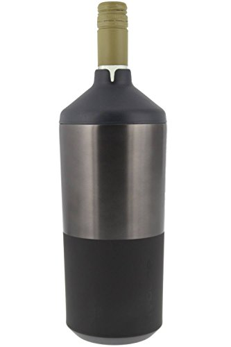 Portable Wine Bottle Cooler by REDUCE - Stainless Steel, Insulated Chiller to Keep Wine at the Perfect Temperature, No Ice Required - Ideal for Outdoor Summer Parties, Fits Most Wine Bottles - Gray (One Bottle Wine Chiller)