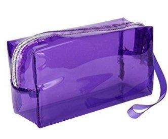 Bravehope Transparent solide Couleur Fermeture Éclair Trousse papeterie Bureau école Portable Outil de maquillage Sac de rangement blanc