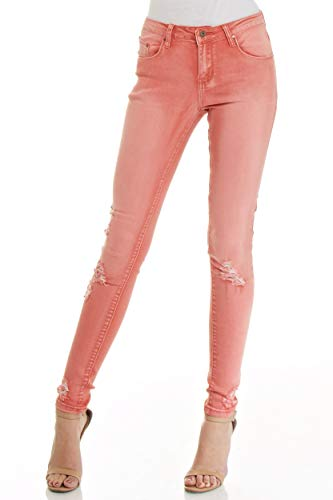 Monkey Ride Jeans Women's Mid Rise Casual Skinny Denim with Distressing Knee 5, Peach