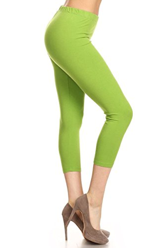 ea45df34ab1 Leggings Depot NCL27-Lime-XS Solid Capri Yoga Pants