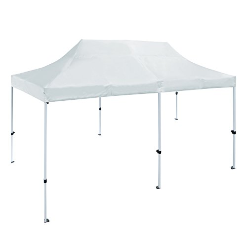 ALEKO GZF10X20WH Foldable Popup Polyester Gazebo Canopy Patio Coffee Shelter 10 x 20 Feet White