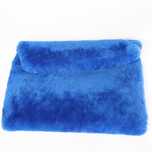 URSFUR invernale in pelliccia di lana, a forma di busta da sera, da donna, con chiusura a cartella, con borsa blu