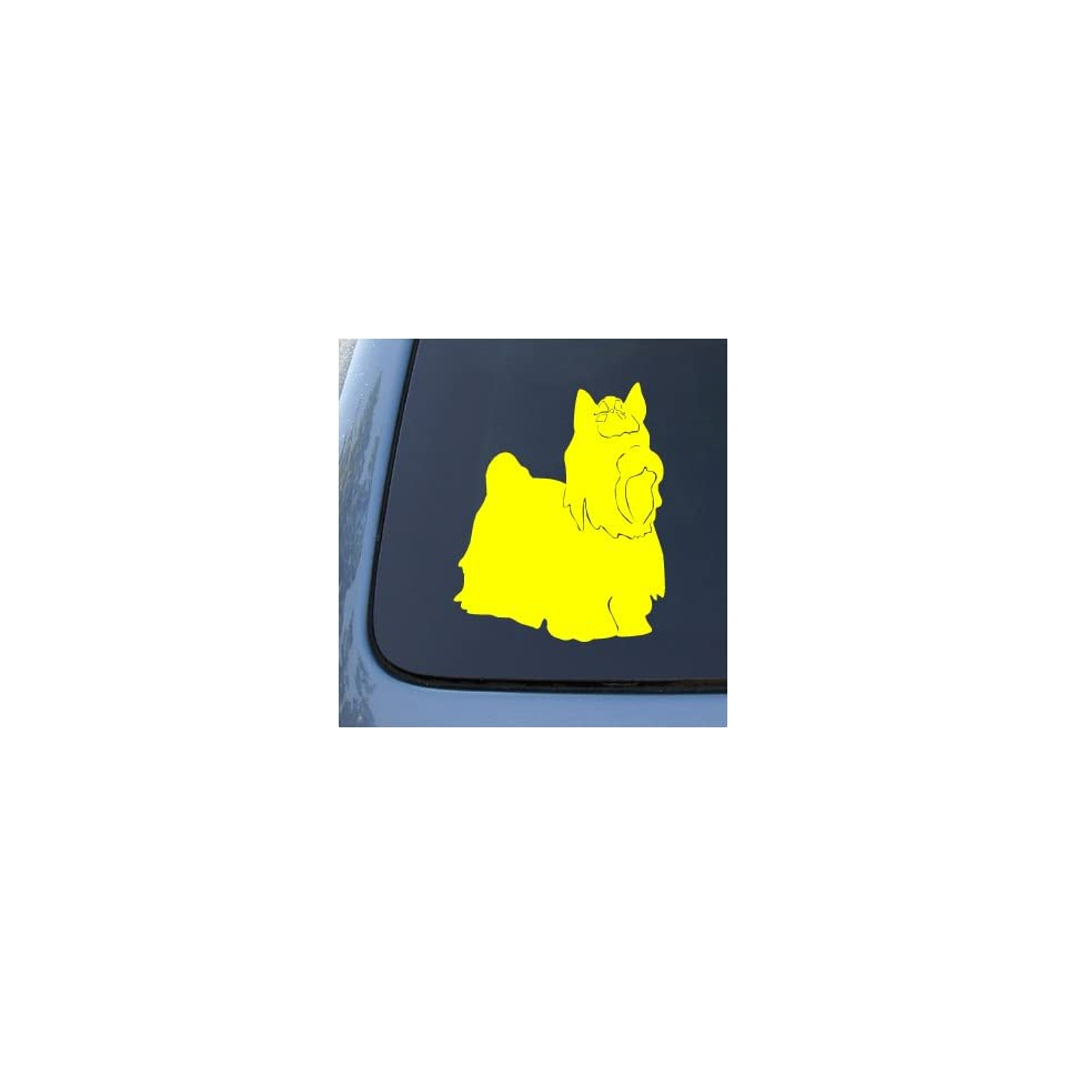 YORKSHIRE TERRIER SILHOUETTE   Dog Decal Sticker #1571  Vinyl Color Yellow