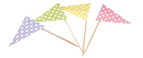 Party Partners Design Polka Dot Pennant Flags Short Decorative Food Picks, Multicolored, Set of 24 - Decorative Toothpicks