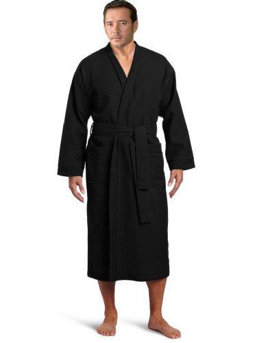 Lightweight Waffle Kimono Robe Short Waffle Kimono Bathrobe Spa Robe Cover Up (Long: XXL Size, Upscale Black) by eLuxury