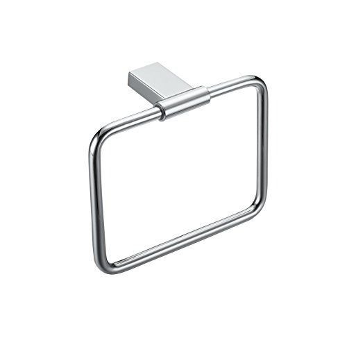 Maykke Benidorm Towel Ring | Modern Wall Mount Towel Holder for Bathroom Lavatory, Shower, Kitchen | Rectangular Solid Brass Storage Organizing Hanger | 2 Colors | Polished Chrome OYA1021301