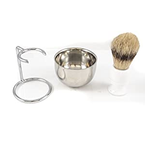 Shaving Kit for Men, Stainless Steel Shaving Soap Bowl, Stainless Steel Brush Holder, Boars Hair White Handle Wooden Shaving Brush, Perfect Shaving Set for a Gift