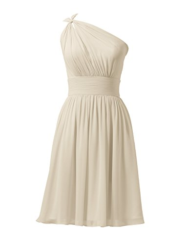 Alicepub Chiffon Bridesmaid Dresses Short Prom Party Dress Evening Gown Formal Gown, Champagne, US0
