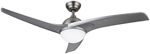 CO-Z Ceiling Fan LED Light 52 Inch Brushed Nickel Finish with Three Silver Color Reversible Blades Full Remote Included