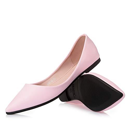 FLYRCX La Boca Baja señaló los Zapatos Planos Transpirables de la Parte Inferior Suave Zapatos de Trabajo de Oficina de Las señoras Zapatos Solos Zapatos de Las Mujeres Embarazadas Pink