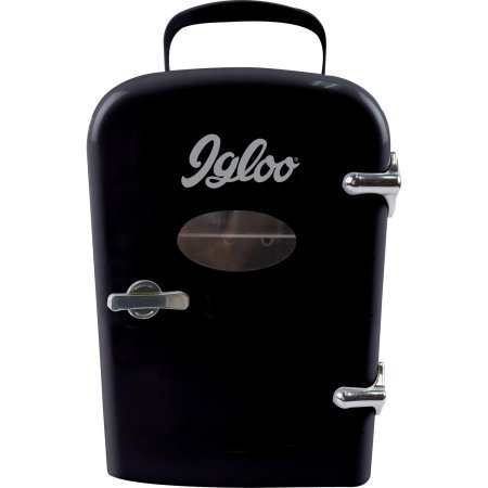 Igloo Mini Beverage Fridge, Black,Consumes Much Less Power Than Traditional Refrigerator,Store Snacks and Beverages,Compact Enough to Fit on Desk at Work,Dorm Room or Bookshelf