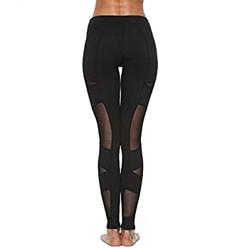 Feivo Yoga Pants, Women's Power Flex Yoga Pants Tummy Control Workout Yoga Capris Pants Leggings,mesh-black5,large 3